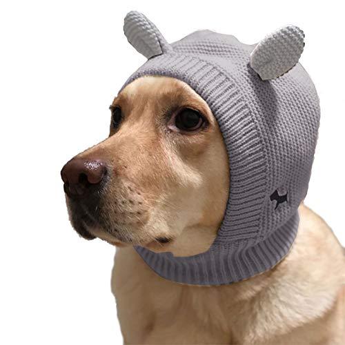 Disfraces para Masctoras Gorro Invierno Tejido de Punto Sombrero con Oreja para Perro Grande Ropa de Mascota Disfraz Clido Invierno (Gris, Talla nica)