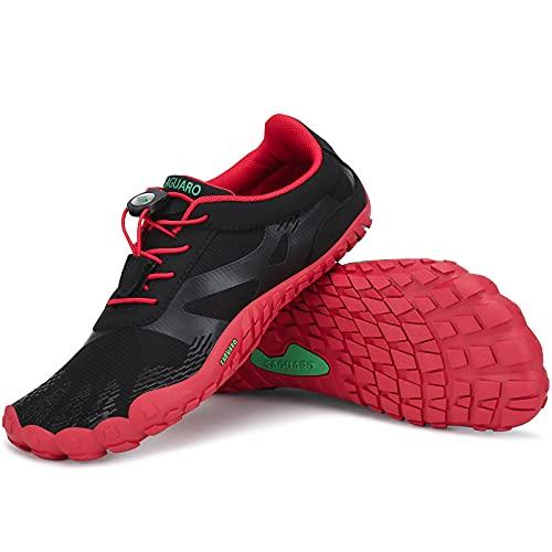 SAGUARO Barfussschuhe Herren Damen Fitnessschuhe Atmungsaktiv rutschfest Traillaufschuhe Outdoor & Indoor Trainingsschuhe Schnell Trocknend Minimalistische Zehenschuhe Stil:2 Rot Gr.40