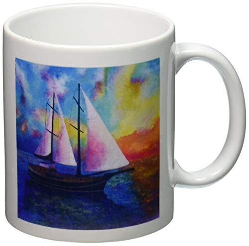 N\A mug_48457_1 Bodrum Gullet Cruise Azul, Barcos, Impresionismo, Naranja, Realismo, Velero, Velas Taza de cerámica