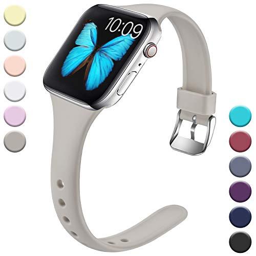Wepro Kompatibel für Apple Watch Armband 38mm 40mm, Schlank Dünnes Weiches Silikon Ersatzarmband mit Klassischer Schnalle für Apple Watch Series 5/4/3/2/1 S/M, Grau