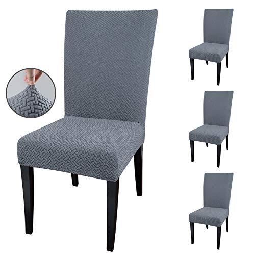 Qishare Stuhlhussen 4 Stück Stuhlbezug Abnehmbare Stretch Elastische Universal Waschbar Anti-Staub Parsons Stuhl Sitz Schutzhülle für Esszimmer, Hotel, Zeremonie, Hochzeit, Party(grau)