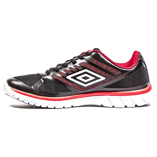 Umbro Lever, Zapatillas de Running Hombre, Negro (Black/White/Red 137), 44 2/3 EU