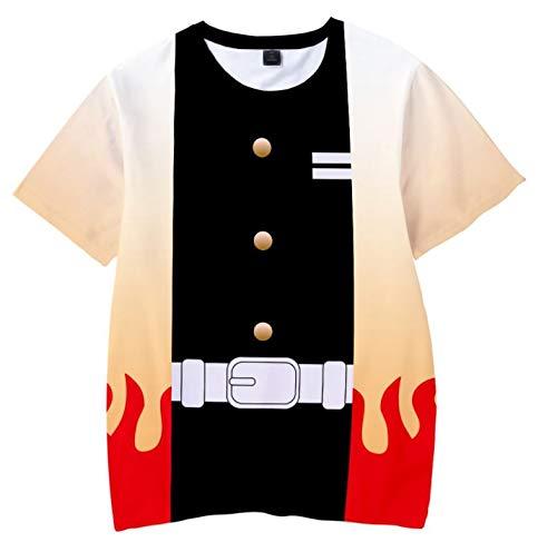 鬼滅の刃 Tシャツ 煉獄 杏寿郎 きょうじゅろう ゆったりサイズ 半袖 120 cm (120, 煉獄杏寿郎)