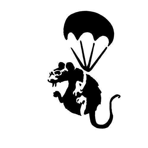 Banksy Paracute Ratte Schablone / A4 Blatt Größe (Design 16x25cm) / Wohndeko Kunst Malen Schablone