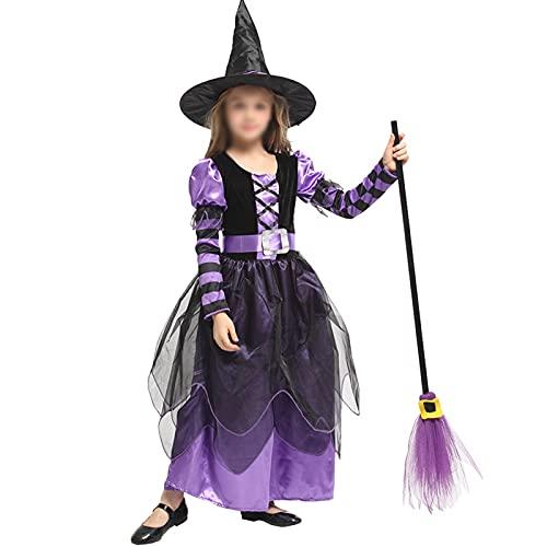 DXDUI Disfraz De Bruja Linda De Cuento Hadas Halloween Juego Lujo Magia para Niños Sombrero para Niñas Fiesta Carnaval Halloween Mardi Gras Fantasia Disfraz Cosplay,S