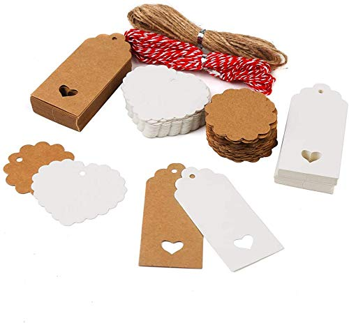 DERAYEE 100stk. Kraftpapier Anhänger Etiketten Geschenkanhänger 4x9cm mit Herz und Jute-Schnur 5M für Weihnachten oder Hochzeit Geschenke Tags als Eintrittskarten oder Preis-Etiketten