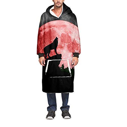 Meiju 3D Kapuzenpullover Decke mit Kapuze, Warme Weiche Unisex Riesen Übergroße Hoodie Sweatshirt Tragbare Decke Hoodie Fronttasche Ultra Plüsch Pullover (Eine Größe(110cm/43in),Mond)
