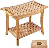 HOMECHO Tabuerte de Ducha de Bambú con Estante para Almacenamiento y Caja de Jabón Taburete de Baño Ergonómico y...