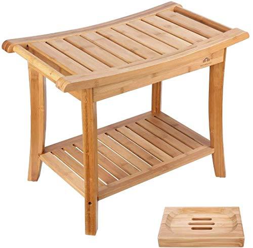 HOMECHO Tabuerte de Ducha de Bambú con Estante para Almacenamiento y Caja de Jabón Taburete de Baño Ergonómico y Antideslizante para Baño 60 x 33 x 46cm