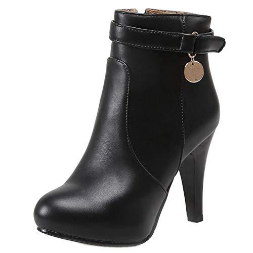 RAZAMAZA Mujer Moda Zapatos Plataforma Tobillo Botines Tacon Alto con Cremallera Lateral (39 EU,1316 Black)