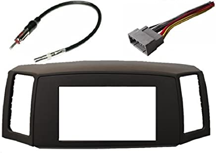 Jeep Grand Cherokee 2005-2007 Double Din Navigation Radio Bezel Dash Install Kit with Standard Wiring Harness and Antenna Adapter - KHAKI