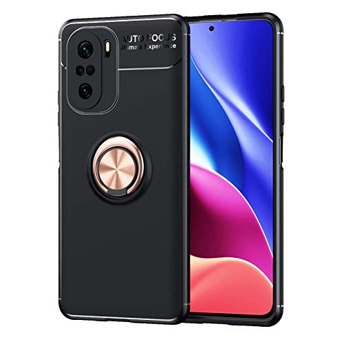 KERUN Funda para Carcasa Teléfono Xiaomi Redmi Note 10 4G, Soporte Anillo Metal Giratorio 360°, Carcasa Silicona TPU Suave, Escudo Protector Ultrafina Prueba Golpes Duradera.Oro Rosa+Negro