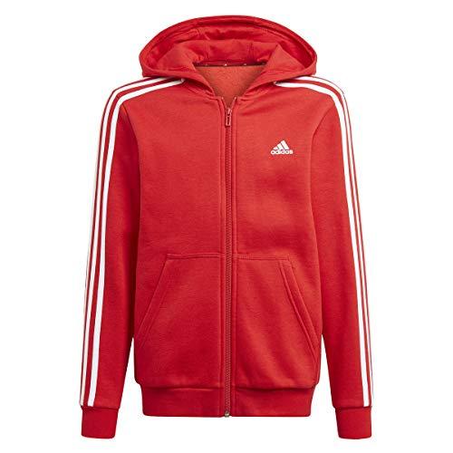 adidas B 3s FZ HD Felpa per Bambini, Bambino, Felpa, GQ8904, Rosso/Bianco, 9 Años