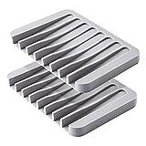 MOGADEE Juego de 2 jaboneras grises de silicona con desagüe, soporte para jabón de silicona para ducha de baño, diseño antideslizante para baño, cocina, contador