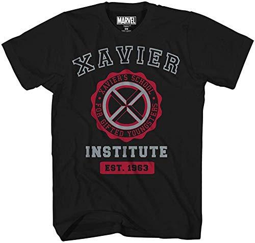 Marvel Avengers X-Men Professor Xavier Institute Logo Fantastic Four X-Force Adult Mens Graphic Tee T-Shirt Black (XXXX-Large)