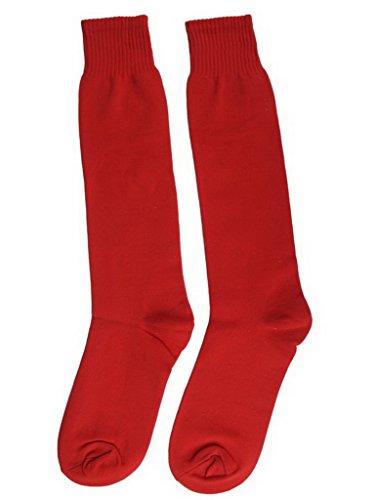 Bigood 3 Paires Chaussette Femme Homme Coton Chaussettes Football Sport Uni Rouge