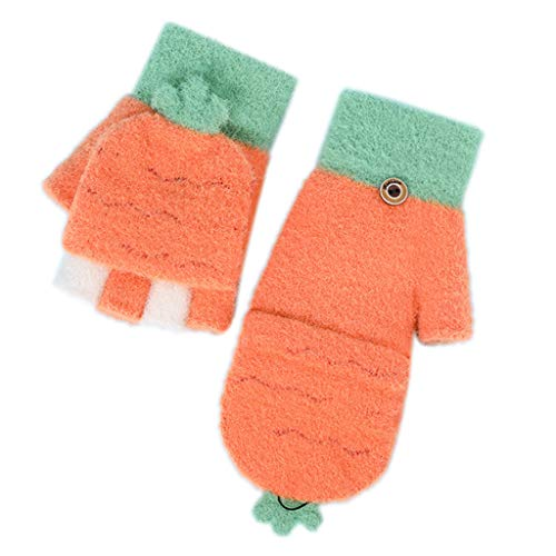 gszfsm001 Kids Winter Warm Convertible Flip Top Cartoon Knitted Gloves with Mitten Cover