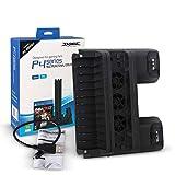 Base de carga de soporte vertical de refrigeración multifuncional para PS4 SLIM PRO negro