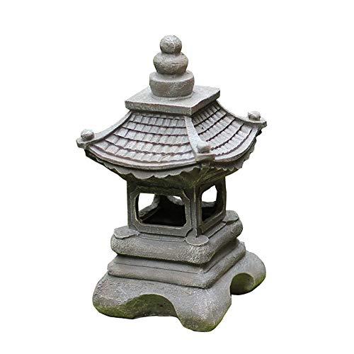 JJAIR Al Aire Libre del Estilo japonés solares Zen Garden Lights, Linterna Pagoda de jardín de la luz Solar de la lámpara Estatua Farmhousebalcony Creativo decoración de la lámpara -6,7 * 14inch