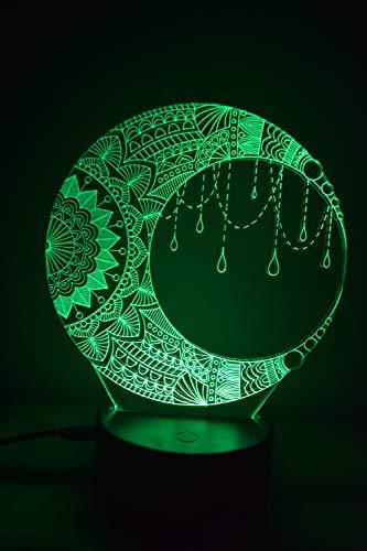 Luna 3D LED Ilusión Lámpara Luz de Noche al lado de la Mesa Colores Cambio Automático Interruptor Táctil Decoración Escritorio Control Remoto