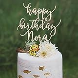DKISEE Decoración para tarta de cumpleaños personalizable, decoración para tarta de cumpleaños de 50 cumpleaños, decoración para tarta de madera de 15 cm