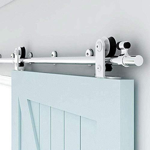 TSMST 152CM/5FT Stainless Steel Sliding Barn Door Hardware Kit Track Roller Closet Accessory for Single Door T Shape