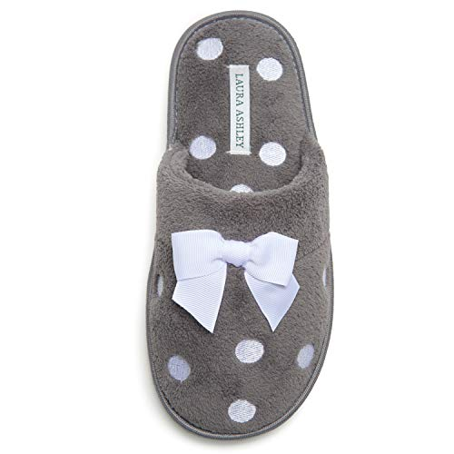 Laura Ashley Ladies Embroidered Soft Terry Plush Scuff Slippers, Grey, Large