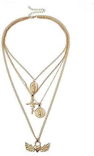 YZXYZH Collar Vintage Virgen María Cruz Floral Colgante Alas Collar En Capas Collar De Cadena Larga De Color Oro Plateado para Mujeres Suéteres
