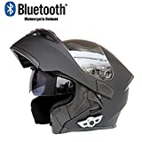 Bluetooth Casco De La Moto, Casco De La Motocicleta Del Descubrimiento Del Casco Con Lentes Anti-Vaho De TiróN Modular De RotacióN De Bluetooth Cascos-Negro, XL61CM ~ 62 CM