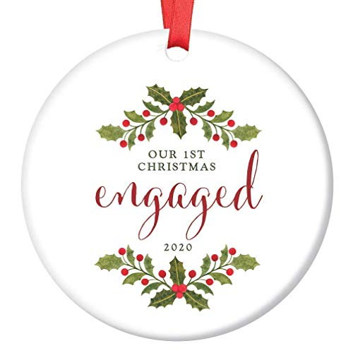 None-brands Monogram Ornament Wreath Ornament Xmas Tree Ornament Custom 2020 Ornament Engaged2020 1st Engagement for Future Bride & Groom Marriage Keepsake