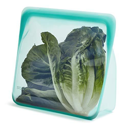 Stasher 100% silicona de grado alimenticio reutilizable para almacenamiento, Aqua (Stand-Up Mega) | Bolsa de almuerzo sin plástico | Cocina, tienda, sous Vide, o congelar | a prueba de fugas