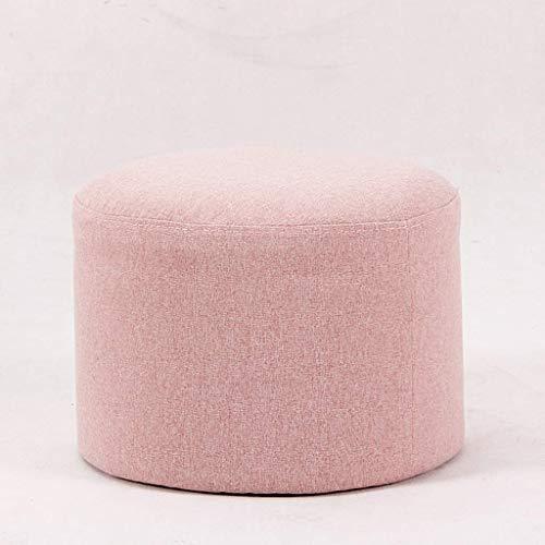 LDM Banco de sofá Simple y Exquisito Taburete de pie Redondo Taburete de reposapiés Reposapiés pequeño (Color: Rosa)