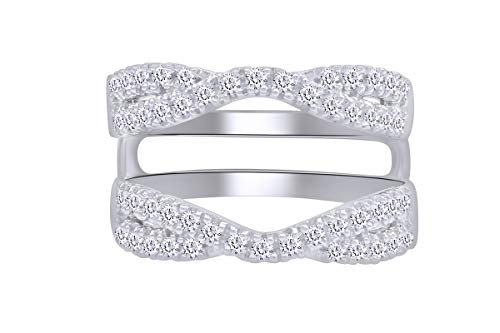 AFFY 1.00 Ct. Double Infinity Wedding Ring Guard Enhancer in Sterling Silver with Cubic Zirconia Ring Size-6