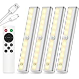 SZOKLED Wireless Under Cabinet Lighting Remote Control Rechargeable LED Closet Light Dimmable Under Counter Light Nightlight Bar with Timer for Kitchen Shelf Hallway Stairs, Multiple Colors 4 Pack