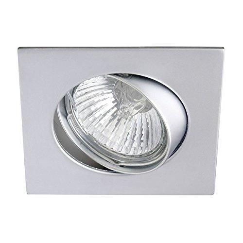 Wonderlamp W-E000012 Basic - Foco empotrable para el techo cuadrado, color acero, 9 x 8 x 3 cm. Incluye portalámparas GU10. Ojo de buey orientable 30º.