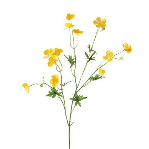 artplants.de Künstliche Butterblume Nora mit 12 Blüten, 3 Knospen, gelb, 70cm - Deko Blume - Kunst Wiesenblume