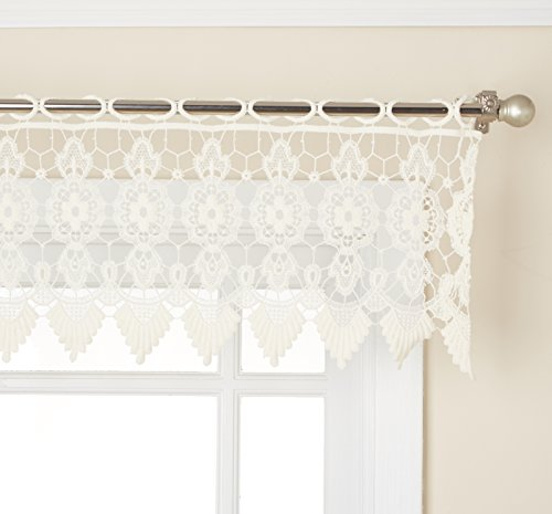"Lorraine Home Fashions 00106-V-00010 Medallion Tailored Window Curtain Valance, 35"" x 12"", Ecru"