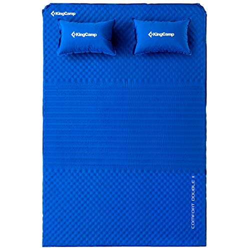 KingCamp Triple Zone Comfort Double Self Inflating 75D Micro Brushed Sleeping Pad Mattress with 2 Pillows (Cobalt Blue)