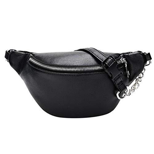 MWOBEP 2019 Bolso de Cintura para Mujer Riñonera Bolso de PU sólido Cinturón Cadenas de Monedero Cremallera de Moda Femenina Monedero pequeño Bolsa de Llave de teléfono Bolso de Pecho, Negro
