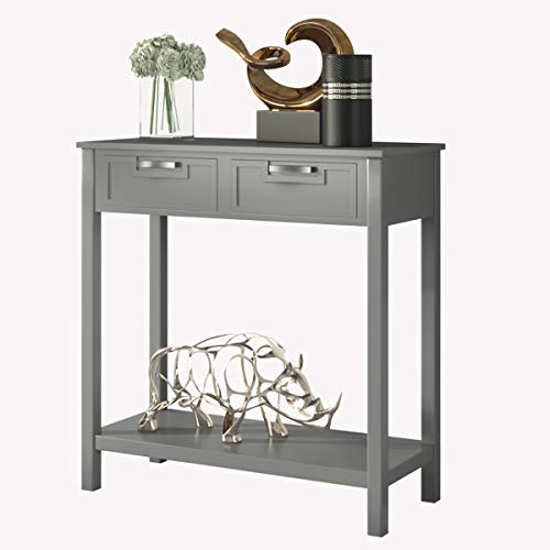 Giantex Console Sofa Table with 2 Drawers and Bottom Shelf, Entryway Table with Solid Wood Legs for Living Room Bathroom Hallway Foyer, 110 LBS Weight Capacity (Gray)