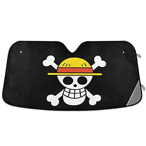 Oarencol Anime Car Windshield Sun Shade One Piece Pirate Straw Hat Foldable UV Ray Sun Visor Protector Sunshade to Keep Your Vehicle Cool (55' x 27.6')