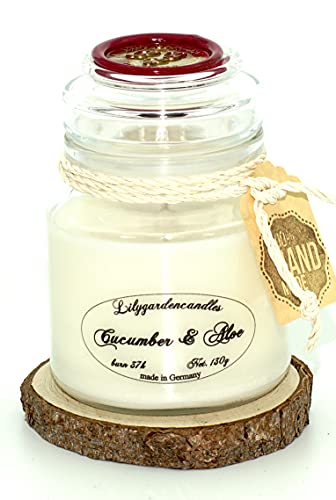 Lilygardencandles Green Cucumber & Aloe Candle in Glass 37+ Hours Burn Time 100% Soy Wax Pure Wellness Scent