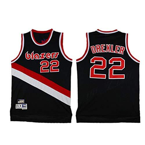 LSJ-ZZ Ropa de Baloncesto para Hombres NBA Blazers 22# Clyde Drexler Classic Retro Bordado Jersey, Fan de Baloncesto Unisex Capacitación Sin Mangas Capacitación Deportiva,Negro,L