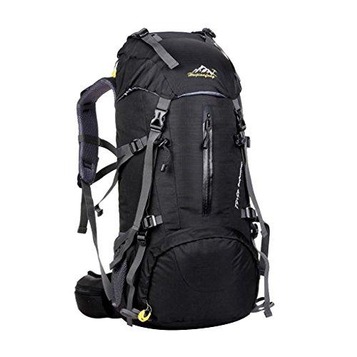 Generic 50L Imperméable Multi-poches Zippées Sac à Dos de Randonnée Escalade Sportive de Bretelles Ergonomiques Rembourrées - Noir
