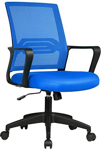 COMHOMA Bürostuhl Ergonomisch Schreibtischstuhl Drehstuhl mit Netzrückenlehne Wippfunktion höhenverstellbar Blau