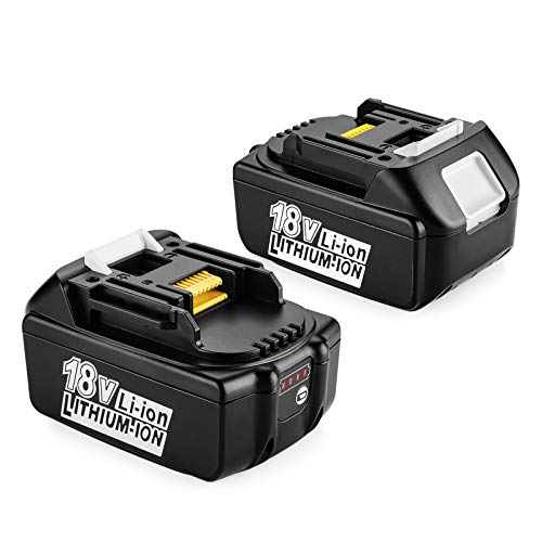 ENERGUP Batería de repuesto para herramientas Makita BL1850, BL1840, BL1830, BL1820, BL1815 y BL1860 (2 unidades, 5500 mAh, 18 V, con indicador LED)