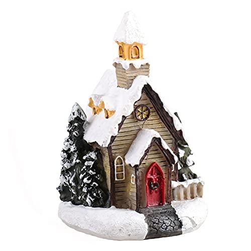 Casas de Pueblo de Navidad con LED, Casas de Pueblo de Navidad con Pilas, Colecciones de Pueblo de Navidad Casas Adornos Edificios Escena iluminada Decoraciones navideñas Cubierta de Nieve con LED