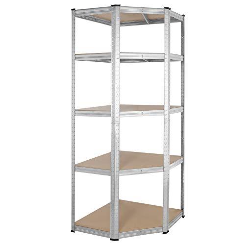 Monzana Estantería metálica de esquina 5 estantes 180x70x40cm carga máx. 875 kg para cargas pesadas taller garaje