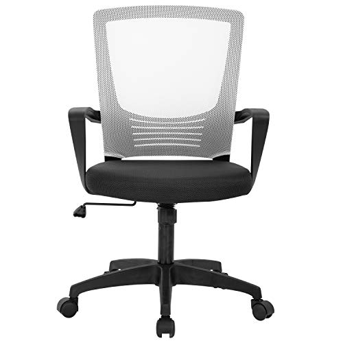 Home Office Chair Ergonomic Desk Chair Mesh Computer Chair Lumbar Support Modern Executive Adjustable Rolling Swivel Chair Comfortable Mid Black Task Chair,White
