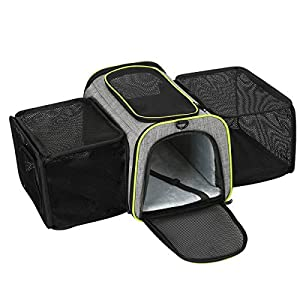 COVONO Expandable Pet Carrier for Cats, Dogs and Small Animals, Portable Pet Travel Carrier, Airline Approved, Soft Sided, Foldable, Steel Frame, 3 Open Doors, Big Space